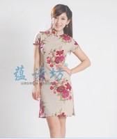 2013 summer vintage print linen cheongsam tang suit fluid cheongsam one-piece dress