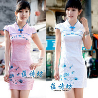 3369 fashion gentlewomen chinese style embroidered color block bubble cap sleeve of improved cheongsam 2