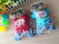 Free Shipping Autumn Winter Crown Cartoon Dog Clothing Coats Warm Dog Jacket Sweater Clothes