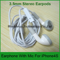 DHL Free 100PCS/LOT Cheap White 3.5mm Stereo Earpods Earphone Headphones With Mic Handsfree For iPhone 4 4S  3GS Touch4