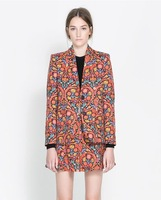 European And American Wind Restoring Ancient Ways Of New Fund Of 2013 Autumn Printing Long Two-Button Suit Female Leisure Coat