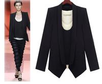2014  Tops Fashion Women's Blaser jacket Suit Tunic long sleeve classical black Plus size XXXL autumn Blazer
