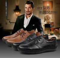 free shipping new casual business men's leather shoes lace up oxfords high quality fashion italian style low top design 2 colors