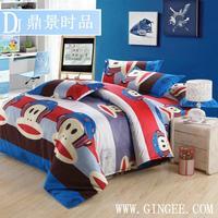 HOT SALE ! Cheap Discount Bedding Set Doona Duvet Cover Set-Cartoon Funny Monkey 4PCS In Full/Queen Aloe Fiber-Bed In A Bag