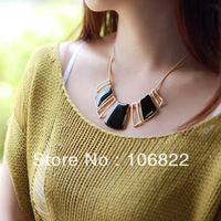 Punk Alloy Lacquered Geometric Shape Hollow Out Black Enamel Necklace Pendant LKX0135 dropshipping free shipping