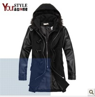 2013 male autumn and winter outerwear woolen material medium-long overcoat leather fur collar with a hood