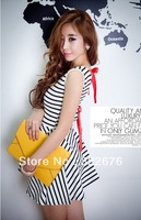 2013 New Stylish Strapped Back Sleeveless Stripe Lace-up Dress Black& White MZ12040111