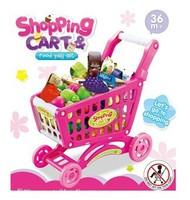 Miniature Furniture Brinquedos Meninas Child Toy Set Artificial Toys Cart Supermarket Shopping Walker Vegetables, Children's