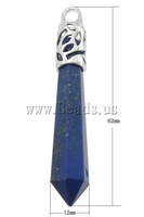 Free shipping!!!Lapis Lazuli Pendants,2013 fashion women, Natural Lapis Lazuli, with Brass, Spike, platinum color plated