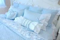 Blue polka dot piece set cotton 100% cotton princess bedding