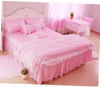 Pink princess 100% cotton lace decoration wind series slanting piece stripe bedding set