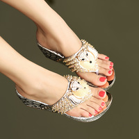2013 wedges slippers luxury rhinestone sexy fox decoration flip-flop flip flops sandals