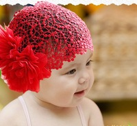 NEWBORN BABY TODDLER GIRLS HEADBAND HAT BEANIE FLOWER Hair BAND LACE ELASTIC NEW D11
