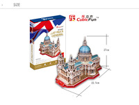 Free shipping, Cubicfun 3D puzzle,st Paul's cathedral in Britain. Children education toys,the best gifts for children,MC117H