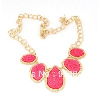 Min.order is $15 (mix order),Hot Fashion New Gold Plated Elegant Zinc Alloy Bohemian Pink Resin Bubble Bib Statement Necklace