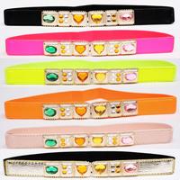 Kaki thin belt Women women's decoration elastic cronyism multicolour rhinestone crystal strap