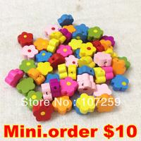 Mini.Order $10, 100pcs/lot 8mm Korea Wooden Flower Bead/Wood Earring Drop/Pendants diy wood embellishments/craft Mixed colors