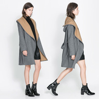Womens hooded woolen trench with contrast camel and gray patchwork and sashes decoration for wholesale and freeshipping