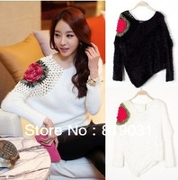 Free shipping 2013 New Autumn/Winter Sweet Temperament Hollow out Hook Flower Fluffy Joker Flowers of Spell color Sweater