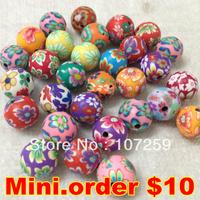 Mini.Order $10, 20pcs 12mm Polymer Clay Round Beads,Handmade Polymer Clay Round Beads
