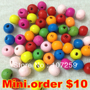 Mini.Order $10, 100pcs/lot 8mm Fashion Wooded Korea Round Beads Jewerly/Wooden Jewelry Accessory,Mixed Colors