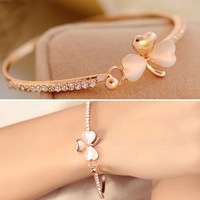 fashion accessories delicate little clover - eye full rhinestone bracelet female