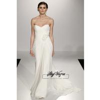 13W016 Strapless Chiffon A-Line Brush Train Gorgeous Luxury Unique Brilliant Bridal Wedding Dress Free Shipping