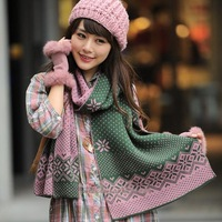 2013 elizabethans lovers thermal dot ultra long double faced jacquard yarn scarf