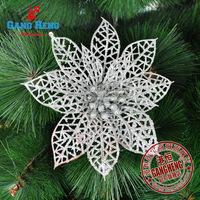 Dropshiping Cheep Christmas Tree Bundle Decoration Silver Cutout Christmas Flowers Sticky Powder 24pcs/Lot  Free shipping