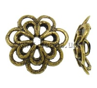 Free shipping!!!Zinc Alloy Bead Cap,Statement jewellery 2013, Flower, antique gold color plated, hollow, nickel