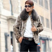 New Promotion Genuine Mink Fur Man Coat With Fox Fur Collar Warm Winter Parke Fur Jackets For Man Free Shipping