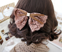 Free Shipping/  Korean version of the new romantic lace bow hairpin hairpin hair jewelry