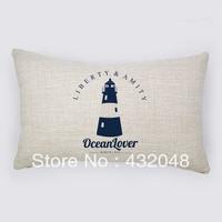 marine style ocean lover retro style cotton pillow square pillow lumbar pillow cushion sofa cushion with core