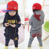Children's clothing autumn and winter boy plus velvet thick sweatshirt harem pants 100% cotton sports set