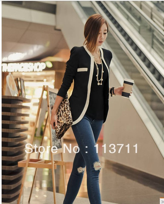 High Quality Women Suits Slim Blazer Coat, White Red /Black Color Block One Button Sleeve Ladies Casual Jacket Coats(China (Mainland))