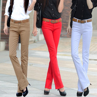 Free shipping 2014  candy color jeans female trousers elastic flare trousers boot cut plus size