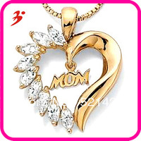 Free shipping  Fashion 18k gold plated Crystal heart MOM pendant lnecklace