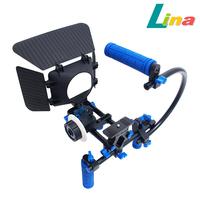DSLR Rig Movie Shoulder 15mm Rai Rod Support Kit + Quick Lock Follow Focus + Matte Box+ C Handle For Canon Nikon Sony Free DHL