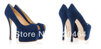 Free Shipping, 2013 New Design European Genuine Leather Super High Heel Platform Women Sexy Shoes Peep Toe