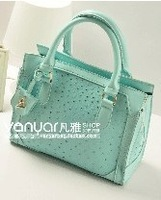 Ostrich grain bag lady sweet candy color one shoulder his female bag