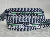"WM ribbon wholesale/OEM 5/8inch 814017 ""Sport Seahawks""Print  folded over elastic FOE 50yds/roll free shipping"