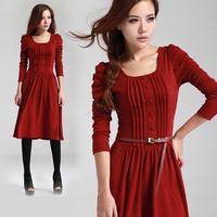 2014 New Slim Korean winter long-sleeved knit retro bubble dress Free shipping      q1856