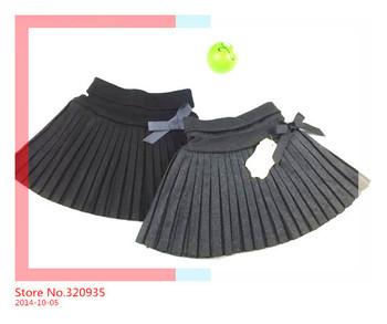 2014 children floral skirts SK-002 Kids Wool Pleated Skirt girls children skirts  5-13 years Black Gray