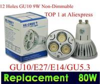 Factory directly sale 10pcs/lot CREE GU10 3X3W 9W 110V/ 220V Dimmable led Light lamp bulb LED spotlight FREESHIPPING