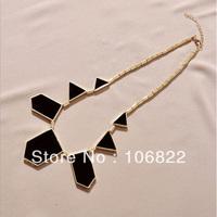 Drop shipping New Fashion Geometric Figure Triangle Sharp European Style Necklace Black LKX0003 Free Shipping