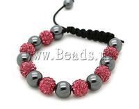Free shipping!!!Rhinestone Shamballa Bracelets,Women Jewelry, rhinestone pave bead, with Nylon Cord & Non-magnetic Hematite