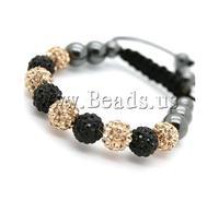 Free shipping!!!Rhinestone Shamballa Bracelets,Fashion, rhinestone pave bead, with Nylon Cord & Non-magnetic Hematite, woven