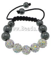 Free shipping!!!Rhinestone Shamballa Bracelets,Cute Jewelry, rhinestone pave bead, with Nylon Cord & Non-magnetic Hematite