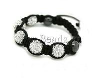 Free shipping!!!Rhinestone Shamballa Bracelets,Inspirational, rhinestone pave bead, with Nylon Cord & Non-magnetic Hematite