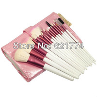 Hot Selling 18pcs Pro Makeup Eyeshadow Blush Brushes Cosmetic Set Kit with Roll Up Case Bag Free Shipping